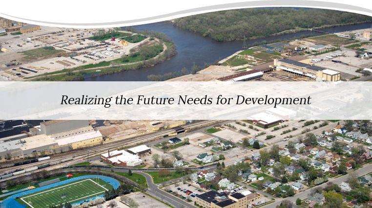 An aerial photo of the Rock Island Quad Cities with the tagline Realizing the Future Needs for Development